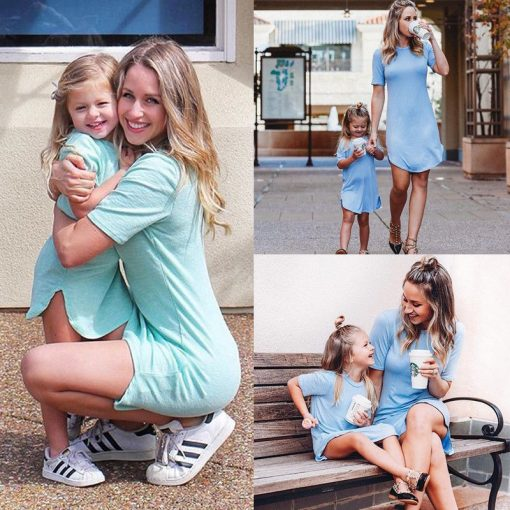 Mother Daughter Dresses Family Matching Clothes Outfits 4