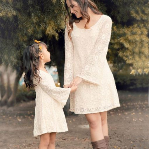 New Mother Daughter Long Sleeve Lace Floral Matching Dress 1