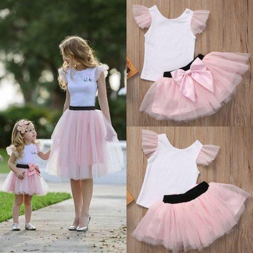 Lovely T-shirt + tutu Skirt Mother Daughter Dresses for Summer Wear 1