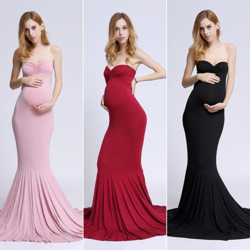 Off Shoulder Sleeveless Long Elegant Maternity Dress 2018 1