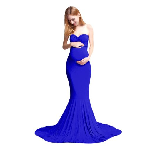 Off Shoulder Sleeveless Long Elegant Maternity Dress 2018 2