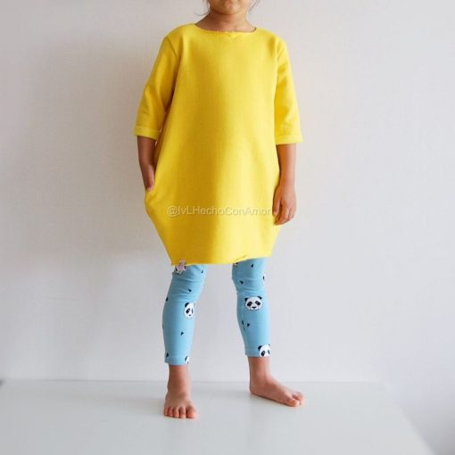 Family Matching Yellow Short Sleeve Mother Daughter Dress 3