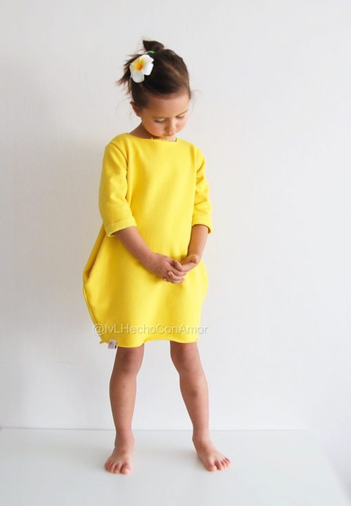 Family Matching Yellow Short Sleeve Mother Daughter Dress 2