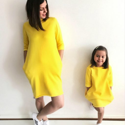 Family Matching Yellow Short Sleeve Mother Daughter Dress 1