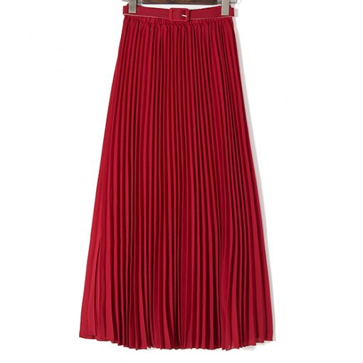 Solid Color High Waist Chiffon Long Spring Skirt for women 3