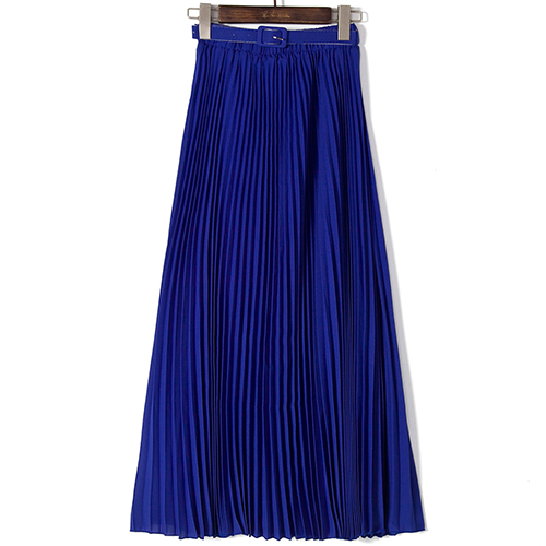 Solid Color High Waist Chiffon Long Spring Skirt for women 2