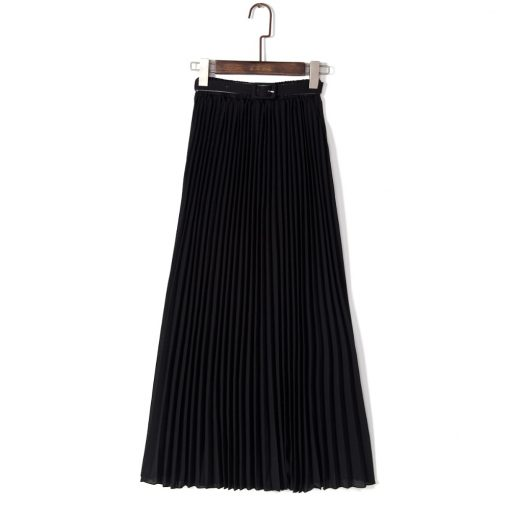 Solid Color High Waist Chiffon Long Spring Skirt for women 1