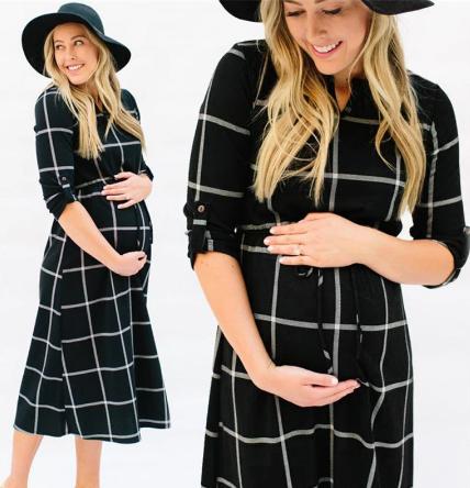 New Fashion Maternity Long Sleeves Plaid Pregnancy Clothes 3