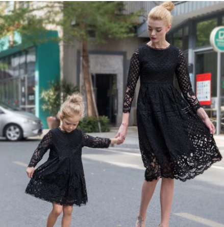 Mother Daughter Lace Dresses Family Matching Clothes 1