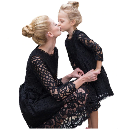 Mother Daughter Lace Dresses Family Matching Clothes 2
