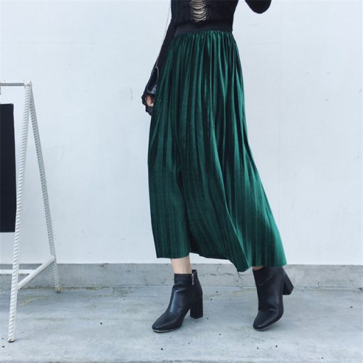 Autumn Winter Fashion High Waist Velvet Spring Long Skirt 2