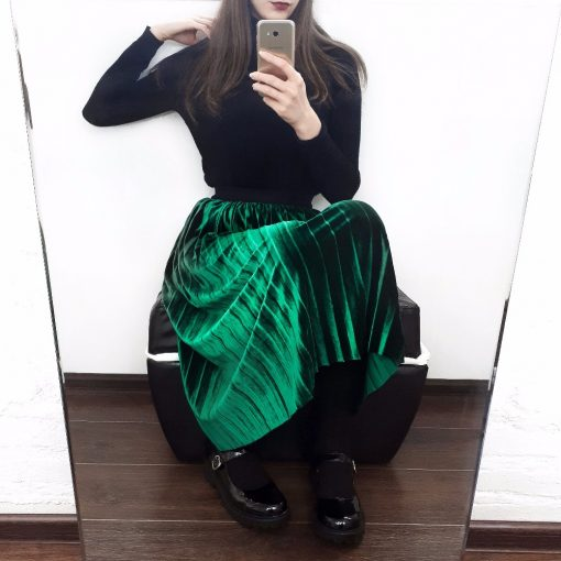 Autumn Winter Fashion High Waist Velvet Spring Long Skirt 1