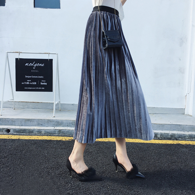 Autumn Winter Fashion High Waist Velvet Spring Long Skirt 3