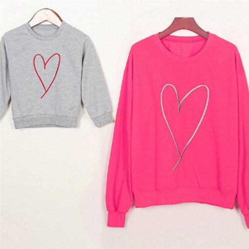 Family Matching Mother Daughter Heart Printed Hoodies & Sweatshirts 4