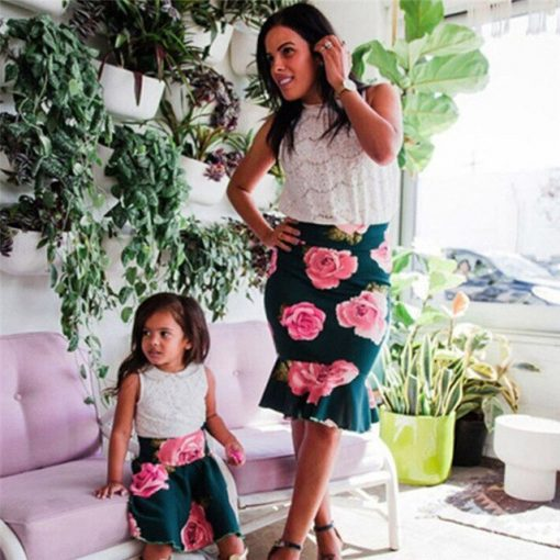 Flower Printed Mommy and Me Spring Skirt 2