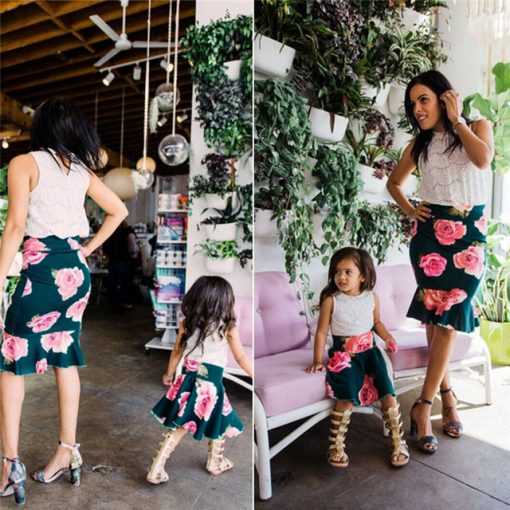 Flower Printed Mommy and Me Spring Skirt 1