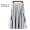 Spring Women's High Waist Pleated Solid Color Half Length Skirt 7