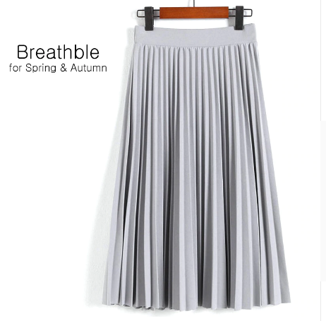 Spring Women's High Waist Pleated Solid Color Half Length Skirt 4
