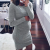 New Casual Above Knee Mini for Pregnant Women O-Neck Long Sleeve Dress 4