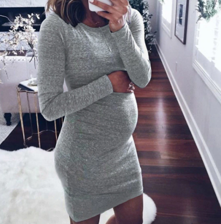 New Casual Above Knee Mini for Pregnant Women O-Neck Long Sleeve Dress 2