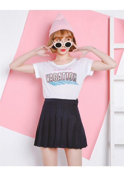 High Waist Solid Color Half Length Spring Skirt 1