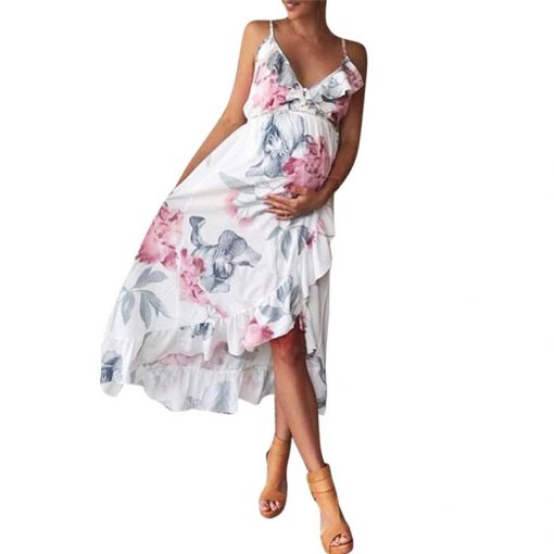 Sleeveless Ruffles Maternity Floral Printed Strap Beach Dress for Pregnant Women 1