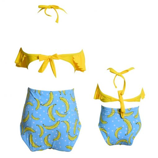 Leaf Print Ruffled Mother and Daughter Swimsuits 4