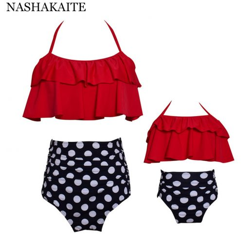 Leaf Print Ruffled Mother and Daughter Swimsuits 8