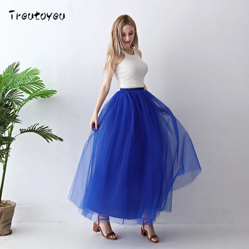 Spring Fashion Womens Lace Fairy Style 4 layers Voile Skirt 2018 2
