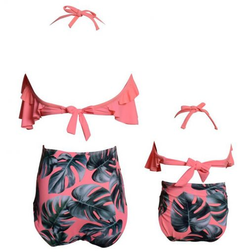 Leaf Print Ruffled Mother and Daughter Swimsuits 3
