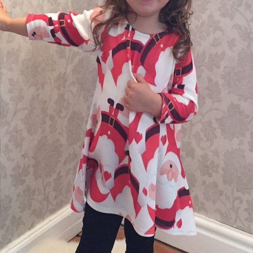 Red Santa Claus Xmas Long Sleeve Dress for Girls 2