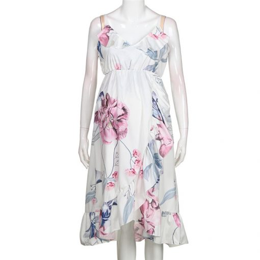 Sleeveless Ruffles Maternity Floral Printed Strap Beach Dress for Pregnant Women 2