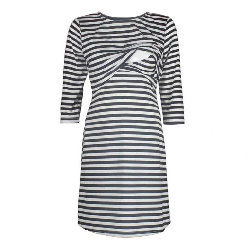 Maternity Women Dress with Half Sleeve & White Strips 3