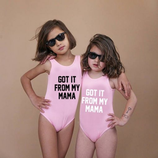 Mother And Daughter Letters Swimsuits 2018 4