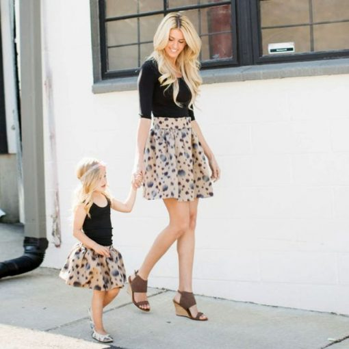 Mother Daughter Family Matching Knee-Length Spring Skirt 1