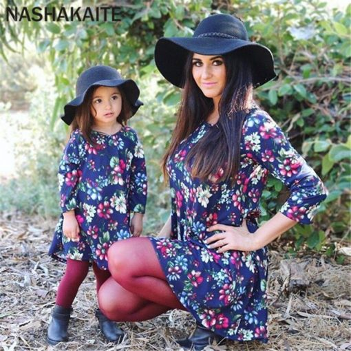 Mommy and Me Long Sleeve Orchid Printed Mini Dress 1