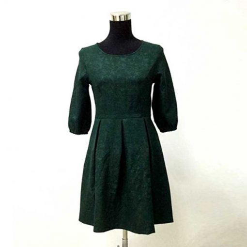 Green Half Sleeve Mother Daughter Matching Dresses for Christmas 2