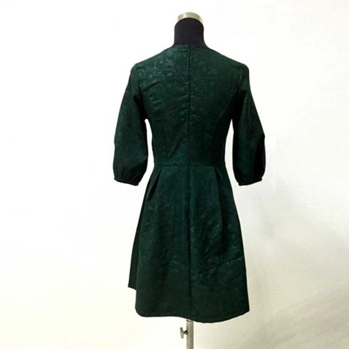 Green Half Sleeve Mother Daughter Matching Dresses for Christmas 3
