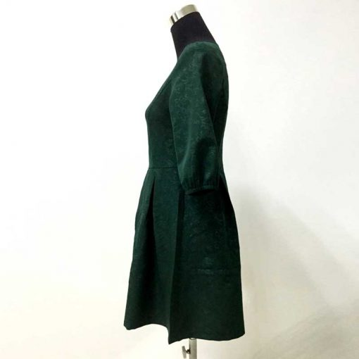 Green Half Sleeve Mother Daughter Matching Dresses for Christmas 4