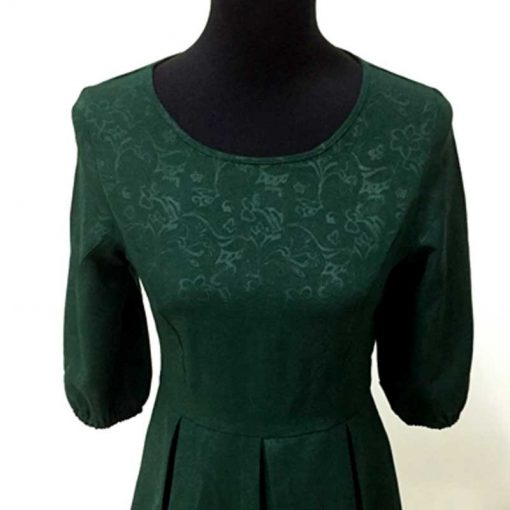 Green Half Sleeve Mother Daughter Matching Dresses for Christmas 6