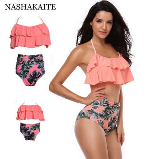 Leaf Print Ruffled Mother and Daughter Swimsuits 1