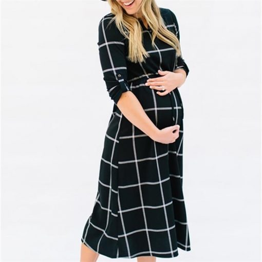 New Fashion Maternity Long Sleeves Plaid Pregnancy Clothes 1