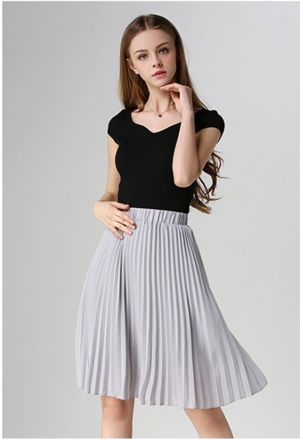 European Style Elegant Pleated Skirt for Spring & Autumn 2018 2