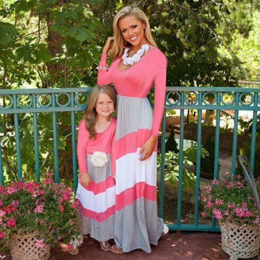 Striped Long Sleeves Mother Daughter Cotton Dresses 2