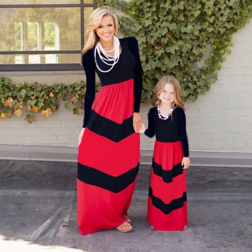 Striped Long Sleeves Mother Daughter Cotton Dresses 3