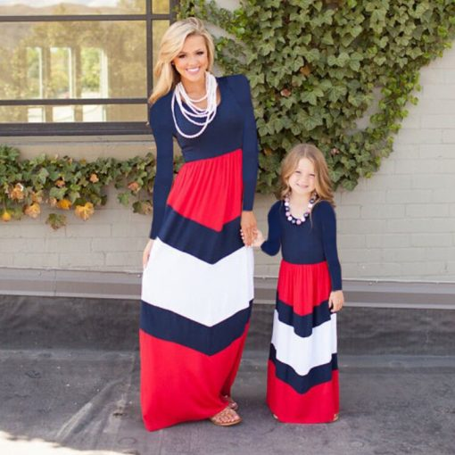 Striped Long Sleeves Mother Daughter Cotton Dresses 4