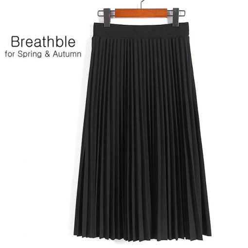 Spring Women's High Waist Pleated Solid Color Half Length Skirt 3