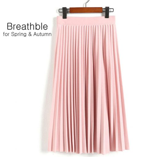 Spring Women's High Waist Pleated Solid Color Half Length Skirt 2