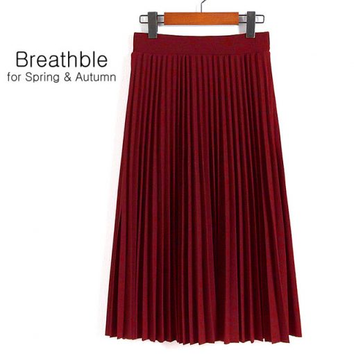 Spring Women's High Waist Pleated Solid Color Half Length Skirt 1