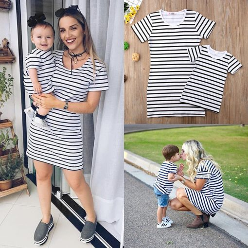 Short Sleeve Striped Mini dress for Mother & Daughter 2